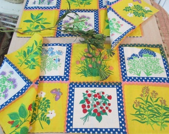 vintage place mats and napkins red blue yellow flowers purple pinkk cottage linens by hermina's cottage