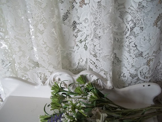 Shabby Cottage Chic Vintage creamy off white ivory Lace Rose Floral  Curtain Panel By Herminas Cottage