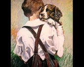 A boy and his new best friend a print of an original acrylic painting