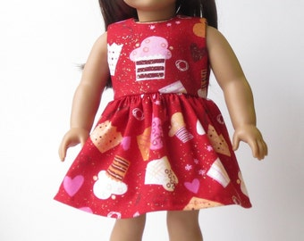 Red Cupcake Dress with Hearts for American Girl Doll 18 Inch