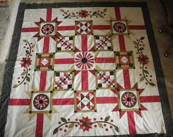 """Vintage Rouge block of the month CompleteTwin Quilt Kit BOM 78"""" x 78"""" Marcus Brothers"""