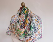 FLORAL silk scarf, 80s, large square, signed , hand rolled ,  summer theme