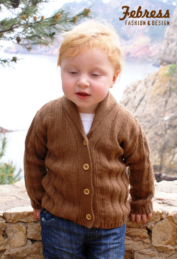 SALE Vintage jacket for boys, Peruvian wool, LAST units, Cardigan Sweater winter, camel FEBRESS Ready to ship.
