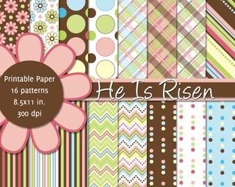 PRINTABLE Easter - 8.5x11 Digital Paper Pack - He Is Risen - INSTANT DOWNLOAD