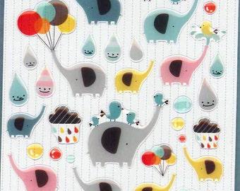 Korean Scrapbook Die-cut Epoxy Stickers, Pawoo the elephants (STSM03079)