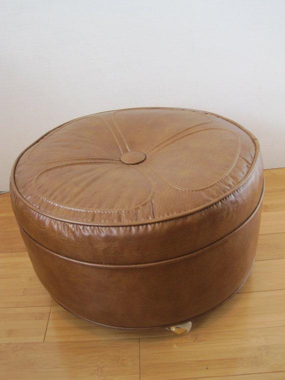 Midcentury Hassock Ottoman Footstool On Casters Danish Modern