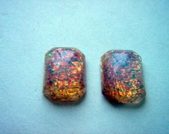 Vintage Opal Glass Rectangular Cabochons x 3     # G 14