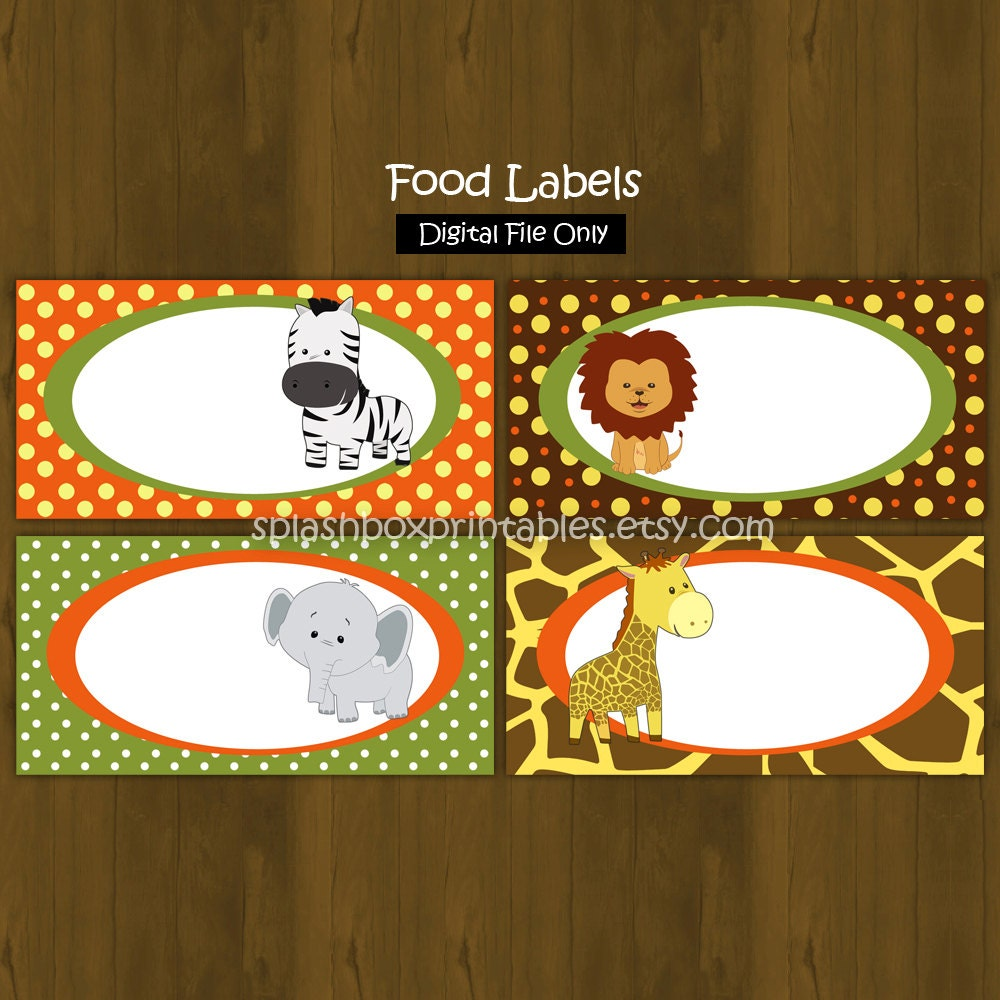 Safari Zoo Jungle Printable Food Labels By SplashboxPrintables
