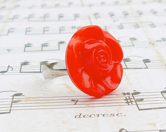 Rose - adjustable Czech glass button ring