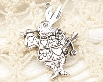 White Rabbit Alice in Wonderland Charm, Antique Silver (4) - S117