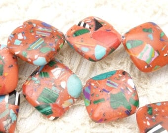 Flat Square Red Confetti Howlite beads, 14mm (6)