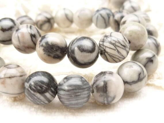 Marble Black Onyx : Mm onyx marble black silk stone round beads full strand