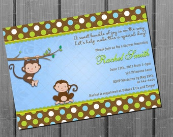 Blue and Brown Monkey Boy Baby Shower Invitation and FREE Thank You Card Printable DIY