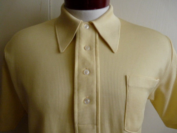 vintage mod 60's Jeffron by Lord Jeff ribbed knit yellow polyester dacron men women unisex polo shirt pocket, medium, short sleeve collar