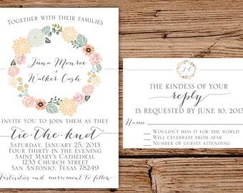 Vintage Floral Wedding Invitation with RSVP