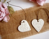 20 Wedding Shower Favor,Rustic Favor Tag,Wedding Ceramic Tags,Clay Hearts Tags , Shower Favor,