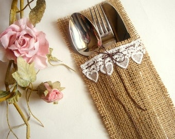 100 Eco friendly  Burlap Flatware Holders, Wedding Table Setting, Rustic Flatware Pockets