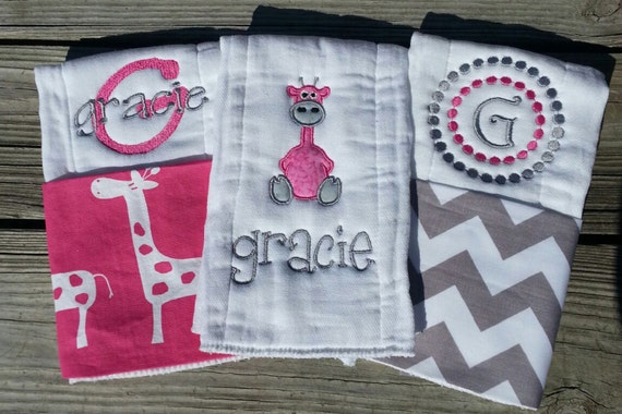 Personalized baby girl burp cloths safari by rubyjeandesigns
