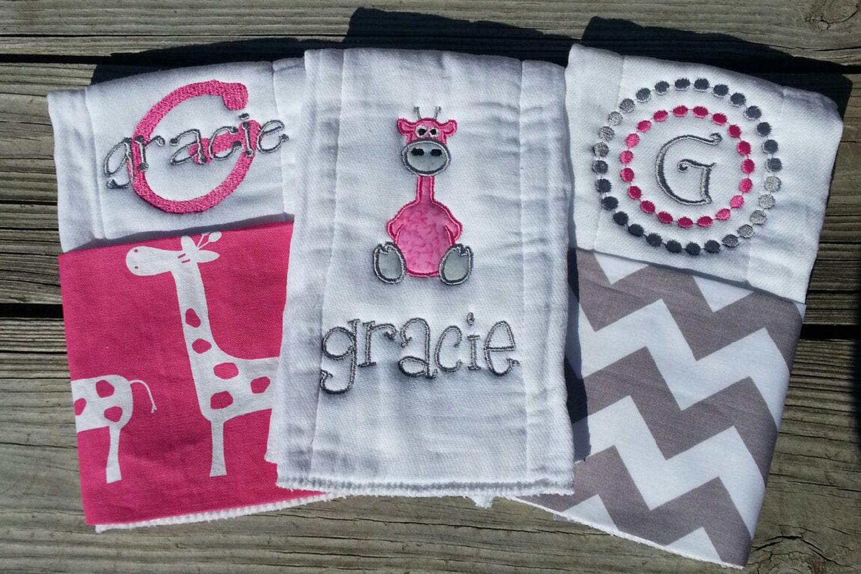 Personalized baby girl burp cloths safari giraffe