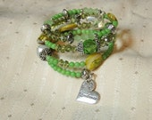 Memory wire bracelet - green bracelet - beaded bracelet - Crystal bracelet - shapes of green- gems tone bracelet -