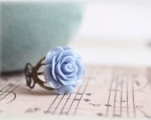 Denim blue rose ring, lucite flower cabochon on vintage style filigree adjustable brass ring, victorian inspired jewelry