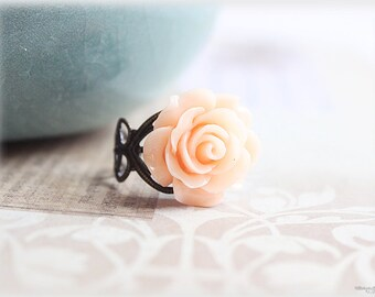 Peach rose ring, lucite flower cabochon on vintage style filigree adjustable brass ring, victorian inspired jewelry