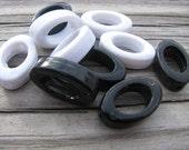 Oval Acrylic Beads- Black and White- set of 30 (15 black, 15 white)