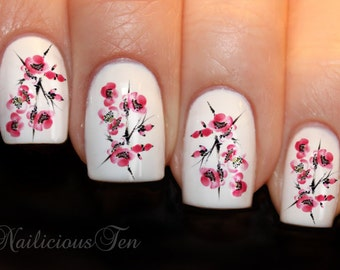 Cherry Blossom Nail Art Water Transfer Decal 21pcs ST8134