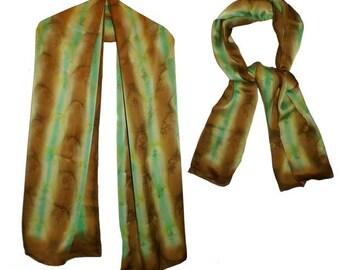 Hand-painted Charmeuse 100% Satin Silk Scarf