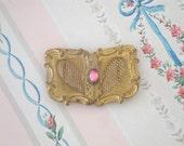 VINTAGE VICTORIAN BRASS Buckle - Pink Stone - Belt - Brooch - Heart - Antique - Altered Art - Assemblage