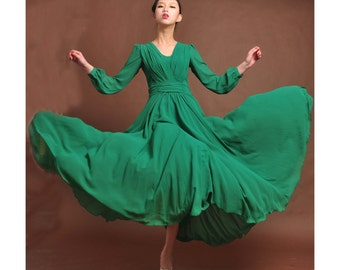 45% off   green chiffon maxi dress