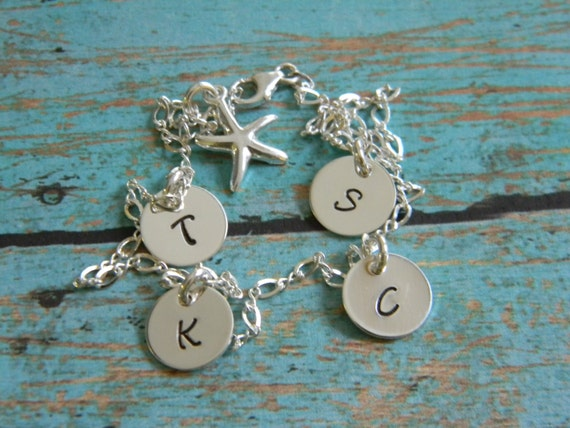 Personalized Initial Anklet, Sterling Silver, 4 initial anklet, Custom mother anklet, Minimalist jewelry, Mommy anklet, Id ankle bracelet