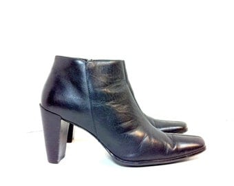 Leather High Heel Ankle Boots 9 - Minimal Chunk Heel Booties 9