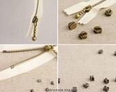 3# Metal Zipper, Silver Antique Brass Zipper Accessories, 4 Brass Sliders 4 Brass Pulls 10 Top Stops 10 Bottom Stops- Zipper DIY
