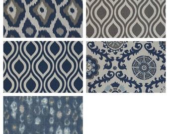 Navy Blue pillow cover one blue gray beige batik ikat cushion cover pillow sham