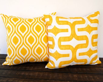 Yellow pillow covers pair of two Corn Yellow cushion cover modern mustard pillows