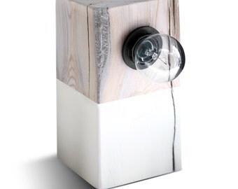 Modern Lamp. Driftwood Table Lamp. Block Lamp. Modern Lighting. Design Lamp. White Wood.