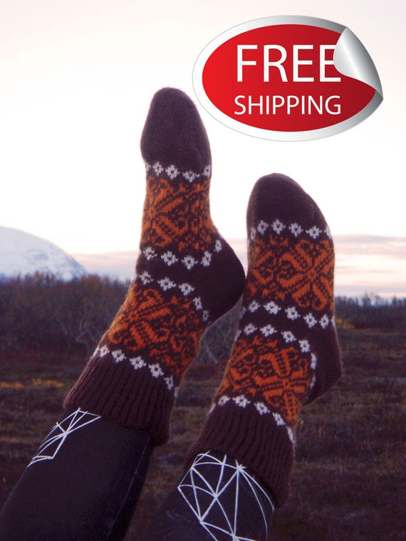 Comfortable and unusual warm wool socks. Mixed wool 50 percent sheep wool and 50% goats wool. Scandinavian style. Patterned socks.