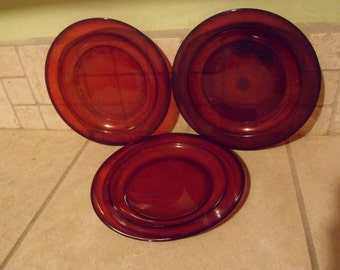 3 Arcoroc France Royal Red Ruby Salad Plates,  Anchor Hocking