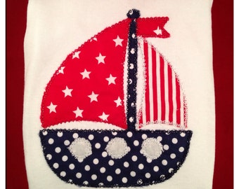 Custom sailboat applique tshirt or onesie (free name if desired)