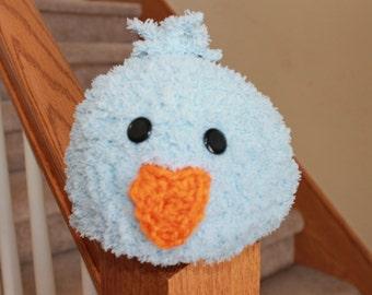 Fuzzy Baby Blue Bird Crochet Hat Easter Photo Prop