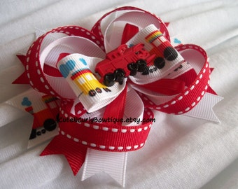 Train Hair bow Girls Red White Bows Baby Hair bows for Girls Thomas the Tank Engine Bow Girls Train Bows Chuggington Inspired Baby Hairbows