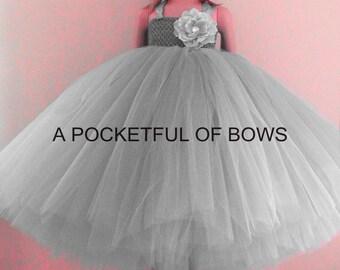 Silver Flower Girl  Dress, Gray Tulle Dress, Toddler Girls Formal Dress