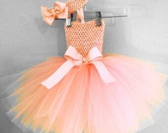 Peach Tutu Dress, Peach Birthday Tutu Dress, Peach Flower Girl Dress