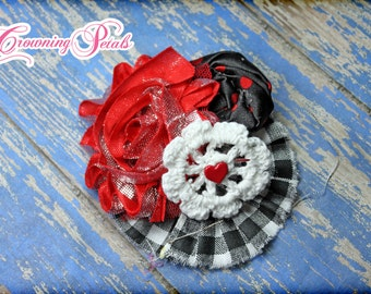 Red Black Headband, White, Hair Bow, Hair Clip, Valentine's Hair Accessories, Fabric Flower Headband, Hair Accessory, Hair Piece, Baby