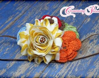 Orange, Mustard, Red, Brown Hair Bow, Hair Accessories, Sky Blue Flower Headband, Baby Hair Bow, Fabric Flowers, Fabric Flower Brooch