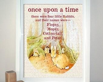 Peter Rabbit, Beatrix Potter Print, Vintage Style, Childrens Decor, Art for Children, Childrens Room Art, Nursery Art, Wall Art, 8x10