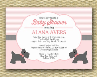 Printable Baby Shower Invitation - Cute Scotty Dog - Any Colors - Baby Girl - Baby Boy