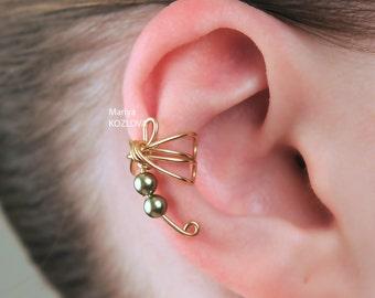 False Piercing Small Fairy Gold Dragonfly Conch Cartilage Ear Cuff/Khaki Swarovski/piercing imitation/ear jacket/fake faux piercing/ohrclip
