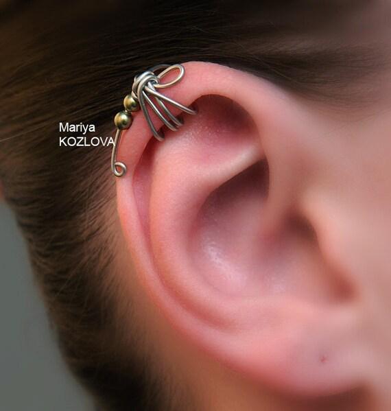 Left/ Right Ear Upper Cartilage Cuff No Pierce Light Green Color Dragonfly. Helix ear cuff